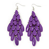 'Through The Grape Vine' Chandelier Drop Earrings (Purple) - 11cm Length