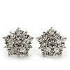 Clear Crystal 'Star' Stud Earrings In Rhodium Plating - 15mm Diameter