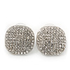 Square Pave-Set Swarovski Crystal Stud Earrings In Rhodium Plating - 2cm Length