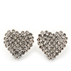 Romantic Pave-Set Diamante 'Heart' Stud Earrings In Silver Plating - 2cm Length