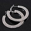 2-Row Swarovski Crystal Flat Hoop Earrings In Rhodium Plating - 4.5cm in Diameter