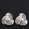 Bridal Crystal/Simulated Pearl Stud Earrings In Rhodium Plating - 18mm Diameter
