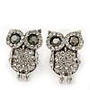 Teen Diamante 'Owl' Stud Earrings In Rhodium Plating - 2cm Length