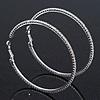 Oversized Slim Clear Swarovski Crystal Hoop Earrings In Rhodium Plating - 7cm Diameter