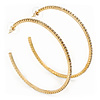 Large Slim Crystal Hoop Earrings In Gold Plating - 7cm Diameter