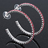 Pink Crystal Hoop Earrings In Rhodium Plating - 5cm Diameter