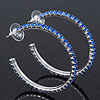 Sapphire Blue Coloured Crystal Hoop Earrings In Rhodium Plating - 5cm Diameter