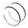 Jet Black Crystal Hoop Earrings In Rhodium Plating - 5cm Diameter