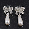 Classic Diamante Imitation Pearl 'Bow' Drop Earrings In Silver Plating - 4cm Length