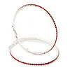 Oversized Slim Red Swarovski Crystal Hoop Earrings In Rhodium Plating - 7cm Diameter
