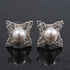 Clear Diamante White Simulated Pearl 'Star' Stud Earrings In Rhodium Plating - 15mm Diameter