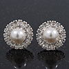 Round Classic Diamante Simulated Pearl Stud Earrings In Rhodium Plating - 15mm Diameter