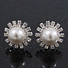 Bridal Diamante Faux Pearl Stud Earrings In Rhodium Plating - 17mm Diameter