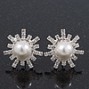 Clear Diamante Simulated Pearl 'Star' Stud Earrings In Rhodium Plating - 2cm Diameter