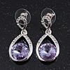 Pale Lavender CZ Teardrop Earrings In Rhodium Plating - 3.5cm Length