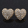 Clear Crystal Pave Set &#039;Heart&#039; Stud Earrings In Gold Plating - 18mm Diameter