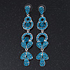 Long Luxury Teal Swarovski Crystal Drop Earrings In Rhodium Plating - Length 9cm