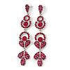 Long Luxury Magenta Swarovski Crystal Drop Earrings In Rhodium Plating - Length 9cm