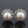 Teen Small Diamante, Simulated Pearl Stud Earrings In Rhodium Plating - 12mm Diameter
