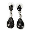 Jet Black Pave Set Swarovski Crystal Teardrop Earrings In Rhodium Plating - 4cm Length