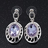Light Amethyst CZ Crystal Oval Drop Earrings In Rhodium Plating - 35mm Length