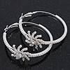 Rhodium Plated Clear Crystal 'Star' Hoop Earrings - 5cm Diameter