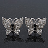 Rhodium Plated Pave Set Butterfly Stud Earrings - 20mm Width