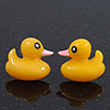 Cute Yellow Resin 'Duck' Stud Earrings In Silver Plating - 2cm Length