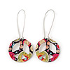 Multicoloured &#039;Peace&#039; Drop Earrings In Silver Plating - 6cm Length