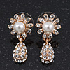 Clear Diamante Simulated Pearl 'Flower' Drop Earrings In Gold Plating - 2cm Length