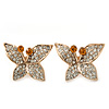 Gold Plated Pave Set Butterfly Stud Earrings - 22mm Width