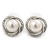 Classic Diamante, Simulated Pearl Stud Earring In Rhodium Plating - 17mm Diameter