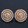 Clear Diamante 'Fireworks' Round Stud Earrings In Gold Plating - 20mm Diameter