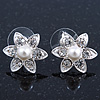 Teen Small Crystal, Simulated Pearl 'Flower' Stud Earrings In Rhodium Plating - 17mm Diameter