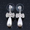 Delicate Teen Crystal, Simulated Pearl 'Bow' Stud Earrings In Rhodium Plating - 3cm Length