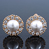 Diamante, Simulated Pearl Flower Clip-On Earrings In Gold Plating - 23mm Diameter