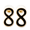 Small Black Enamel 'Infinity' Stud Earrings In Gold Plating - 20mm Length