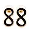 Small Black Enamel 'Infinity' Stud Earrings In Gold Plating - 20mm Length