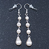 Cream White Acrylic Bead Drop Earrings In Gun Metal - 6cm Length