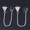 Two Piece Triangular Stud & Chain Ear Cuff In Silver Plating