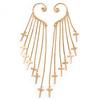 One Pair Long Cross Chain Drop Ear Hook Cuff Earring In Gold Plating - 15cm Length