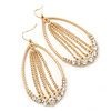 Large Diamante Chain Oval Hoop Earrings In Gold Plating - 7.5cm Length