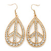 Clear Diamante Oval 'Peace' Drop Earrings In Gold Plating - 65mm Length