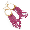 Gold Plated Hoop Earrings With Fuchsia Chains - 12cm Length