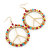 Round Multicoloured Bead 'Peace' Drop Earrings In Gold Plating - 50mm In Diameter