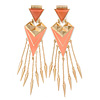Oversized Coral Enamel Dangle Spike Chandelier Earrings In Gold Plating - 16cm Length