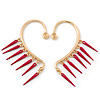 One Pair Dangle Magenta Spike Hook Cuff Earring In Gold Plating