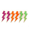 Three Pairs Neon Pink, Neon Orange, Neon Green 'Flash' Stud Earring Set In Gold Plating - 43mm Length