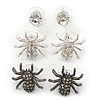 3 Pairs Silver/ Black Spider Stud Earring Set - 20mm, 7mm