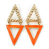 Double Triangular Neon Orange Enamel Drop Earrings In Gold Plating - 5.5cm Length